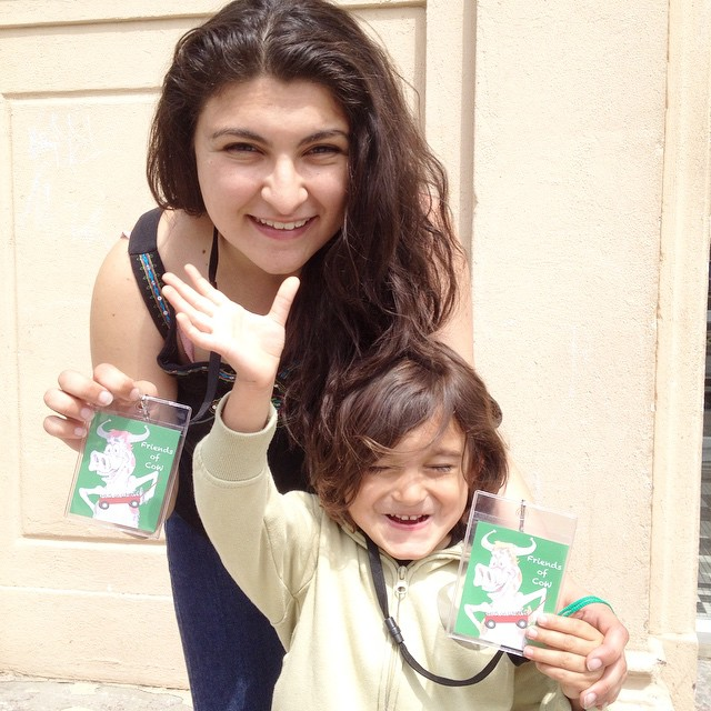 "Julianna and Ollie show off the new volunteer badges ""Friends of CoW"""