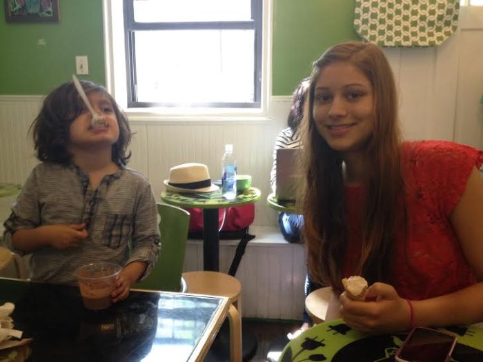 Ollie and Hannah enjoy a vegan ice cream treat!